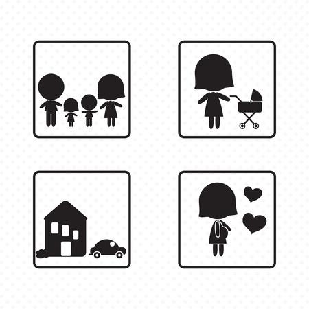 Diferentes iconos de la familia (conceptos, ilustraciones, siluetas), archivos de vectores Foto de archivo - 19127242