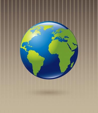paz mundial: Planeta azul y verde sobre fondo beige, ilustración vectorial