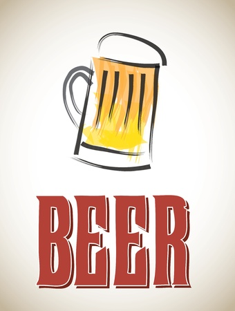 Beerl label over old background vector illustration Vector