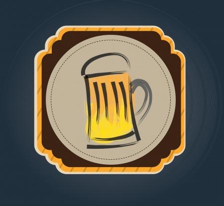 beer label over blue background vector illustration Vector