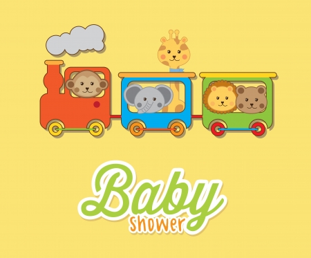baby animals with train over yellow background baby shower Vector
