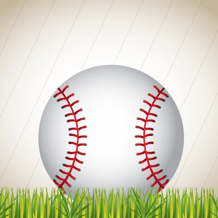 baseball ball on the grass over white background vector illustration Vector