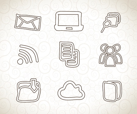 computer icons over vintage background vector illustration Stock Vector - 19179931