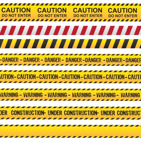 construction icon: Caution and danger ribbon over white background vector illustration