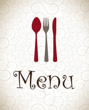 dinner setting: Cubiertos grises y rojas sobre fondo vintage ilustraci�n vectorial