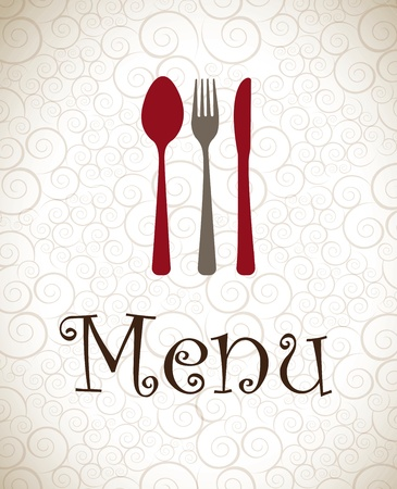 vintage cutlery: Gray and red cutlery over vintage background vector illustration