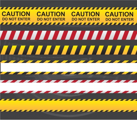 under construction sign with man: Caution and danger ribbon over gray background vector illustration  Illustration