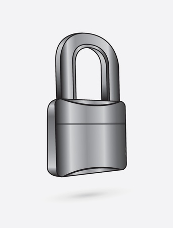 chromium padlock over white background vector illustration  Vector