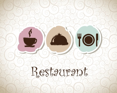 Menu and restaurant icons over vintage background vector illustration Vector