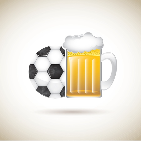 beer and sport over brown background vector illustration Vector