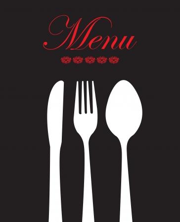 white cutlery over black background vector illustration Illustration