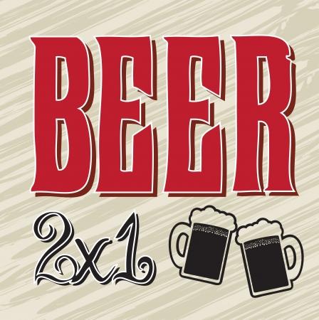beers: discount beers over old  background vector illustration
