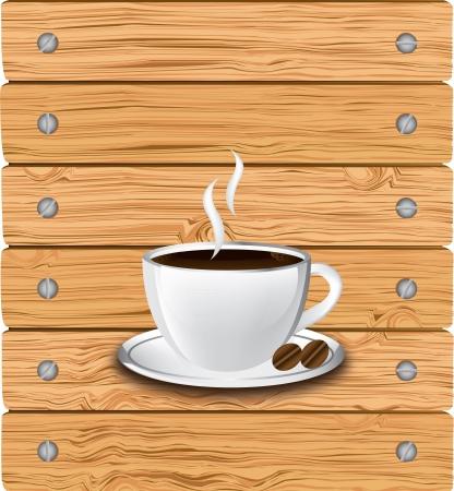 Ilustración de la taza de café sobre fondo antiguo de ilustración vectorial