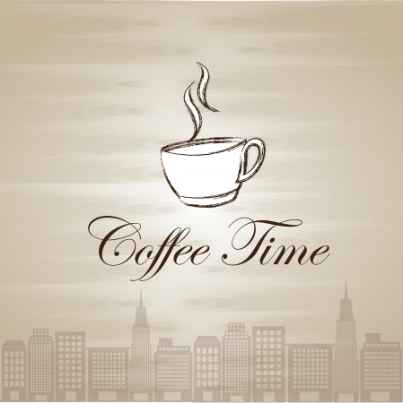 lunch time: Coffe cup illustration over old background vector illustration Illustration