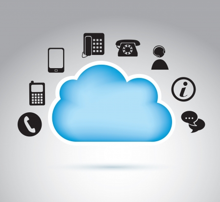 Communication icons around a cloud vector illustration Stock Vector - 19179566