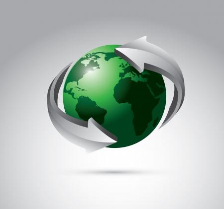 conection: el planeta con flechas en torno a la comunicaci�n de la se�al y de negocios