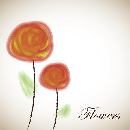 fuschia: Beauty flowers over old background vector illustration