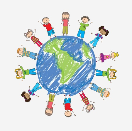 happy world: children around the world in signal of protection vector illustration