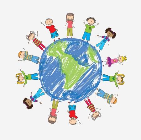 los niños de todo el mundo en señal de protección de ilustración vectorial