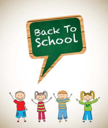 Back to school background with childrens vector illustration   Stock Vector - 19180092