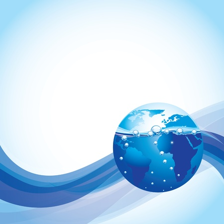 underwater world: the world submerged in water over white and blue background