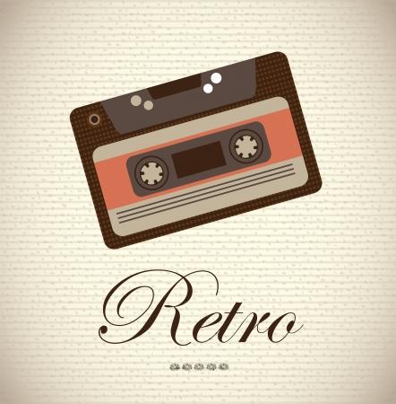 old cassette over vintage background vector illustration Vector