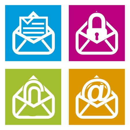 email icons over squares background. vector illustration Vector