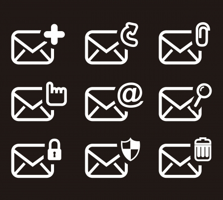 email icons over black background. vector illustration Vector