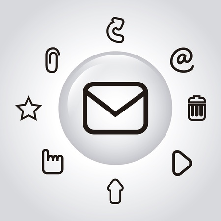 email icons over gray background. vector illustration