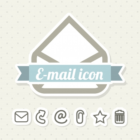 email icons over beige background. vector illustration Vector
