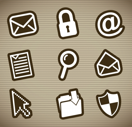 email icons over brown background. vector illustration Vector