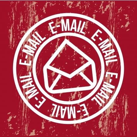 international news: email icon over red background. vector illustration Illustration