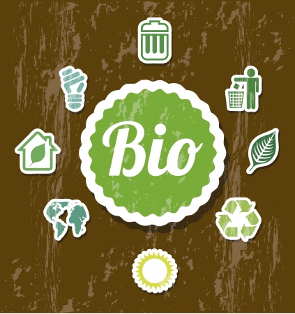 ecology icons over brown background. vector illustration Vector