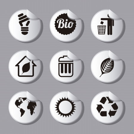 environmental protection: ecology icons over gray background. vector illustration