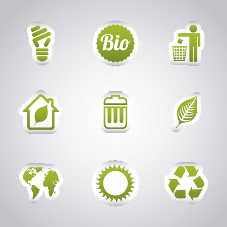 trash: ecology icons over gray background. vector illustration