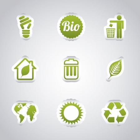 basura: iconos de la ecolog�a sobre fondo gris. ilustraci�n vectorial