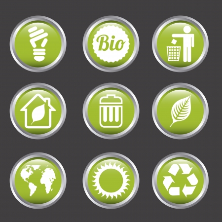 ecology icons over gray background. vector illustration Stock Vector - 19179259