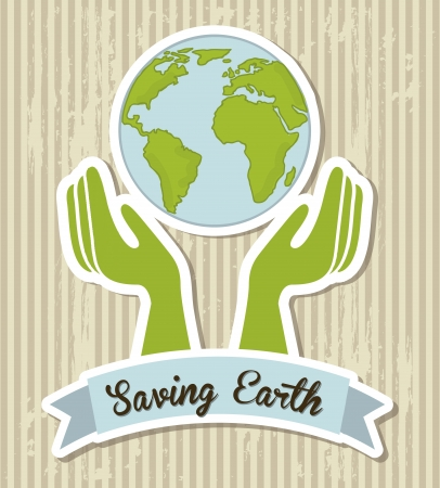 saving earth over brown background. vector illustration Vector