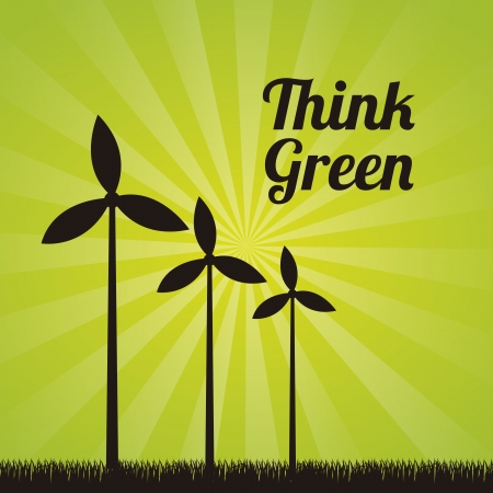windpower: wind turbines over green background. vector illustration