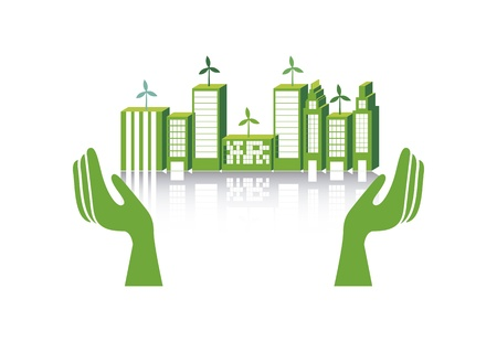 energy conservation: green city over white background. vector illustration Illustration