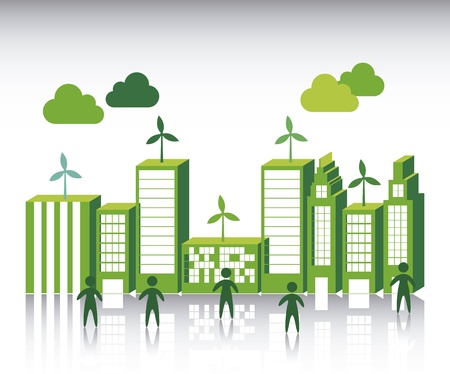solarpower: green city over white background. vector illustration Illustration