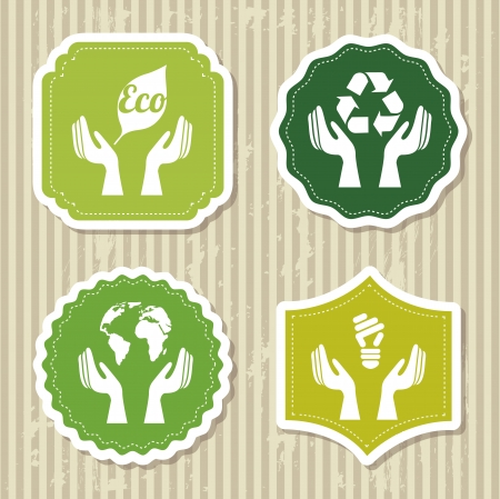 eco labels over brown background. vector illustration Vector