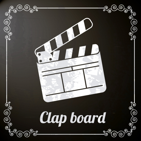clap board: Tarjeta de la palmada sobre fondo negro. ilustraci�n vectorial
