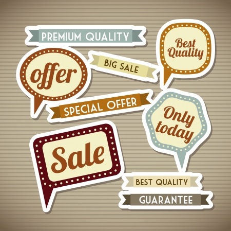 retro labels over brown background. vector illustration Stock Vector - 19179783