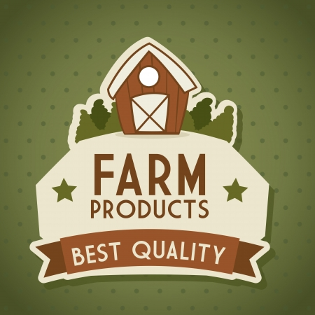 organic concept: farm label over green background. vector illustration