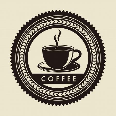 étiquette de café sur fond beige. illustration vectorielle
