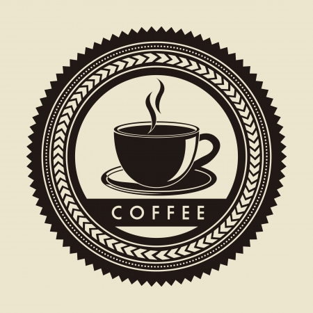 caffeine: coffee label over beige background. vector illustration