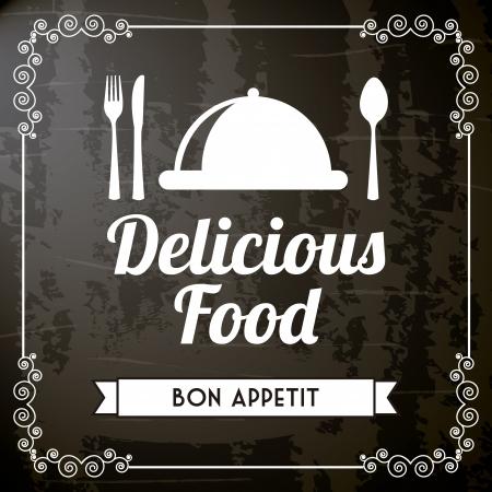deliciosa comida sobre fondo negro. ilustración vectorial Ilustración de vector