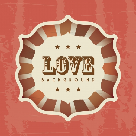 love retro card over red background. vector illustration Stock Vector - 19180464