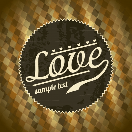 love retro card over pattern background. vector illustration Stock Vector - 19180466